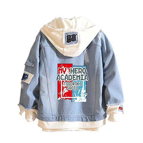 Boku No Hero Academia My Hero Academia Denim Jacket Graphic Hoodie Cosplay Unisex Anime (Anime Jeans Men)