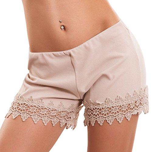 Beige pant shorts Toocool Pantaloncini elastici donna hot orlo eleganti 1492 CJ nuovi pizzo qw1w7B6x