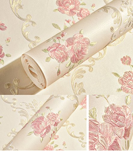 Embossed Rose Floral Contact Paper Self Adhesive Non-Woven Wallpaper Peel and Stick Wall Decor for Girls Living Room Bedroom Kitchen Bathroom Wall (Light Yellow, 20.83