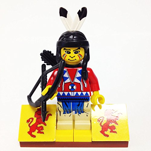 MinifigurePacks: Lego Western - Boulder Cliff Canyon Indian Bundle (1) Indian Brave - Running Bear (1) Figure Display Base (2) Figure Accessory's (Quiver & Bow) (Lego Tribal Chief)