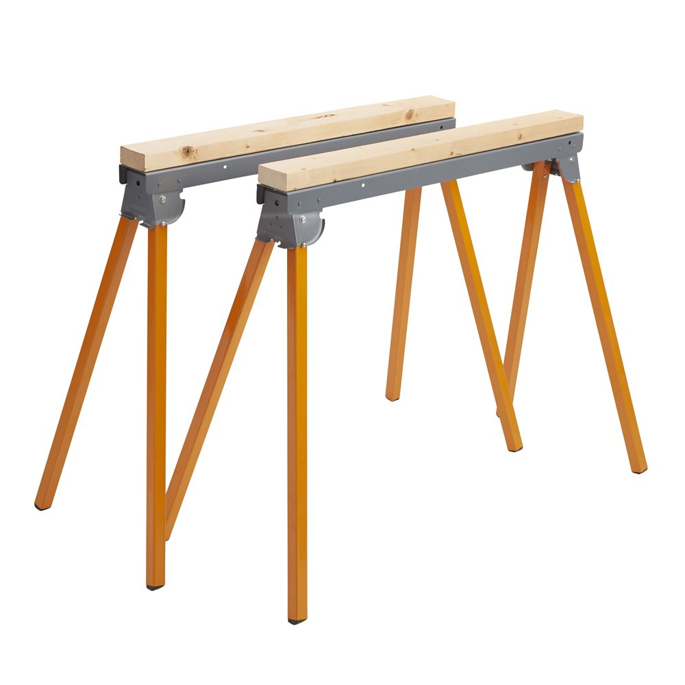 All Steel Folding Sawhorse - Pair BORA Portamate PM-3300T. TWO 33-Inch Tall Fold-up Heavy Duty Saw Horses. Fully Assembled, 1,000lb. Capacity (500lbs. each) and Quickly Folds Up for Easy Storage by PortaMate (Image #3)