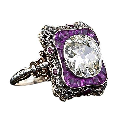 HUAMING Fashion Women Vintage Ring Amethyst Crystal Silver Cubic Zirconia Band Ring Punk Jewelry Wedding Engagement (Purple, 10) ()
