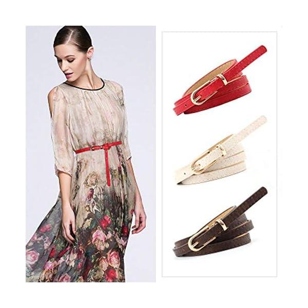Firally Hot sale Cintura,Moda Donna Vintage Accessorie Smerigliato Casual Fibbia Cintura Sottile in Pelle per il Tempo… 2 spesavip