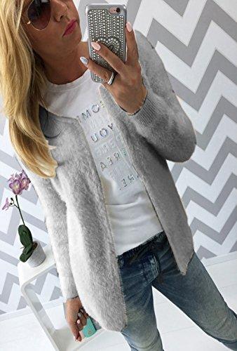 Cardigan Di Solido Sweater Lunga Manica A Maglieria Donnamanica Colore Cappotti Giacche Autunno Grigio Maglie v6q0RngUU
