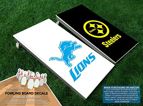 Lions vs. Steelers Fowling Board Decals | Vinyl Decals for Football Bowling Fowling Board Tailgate Lawn Games Building and Decorating