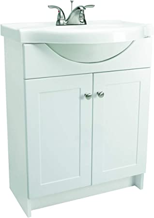 Design House 541656 Vanity Combo White Vanity Bathroom Cabinet With 2 Doors 25 Inch By 18 Inch By 31 5 Inch Belly Sink Vanity Amazon Com
