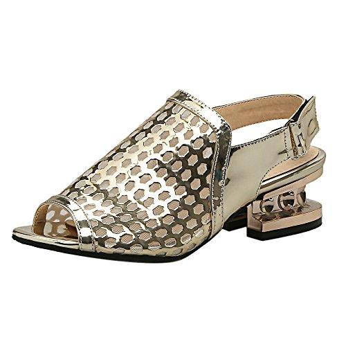 Découpées D'été D'or Chaussures Mode Sandales Peep Les Toe Coolcept Femmes Pqwx4qtRS