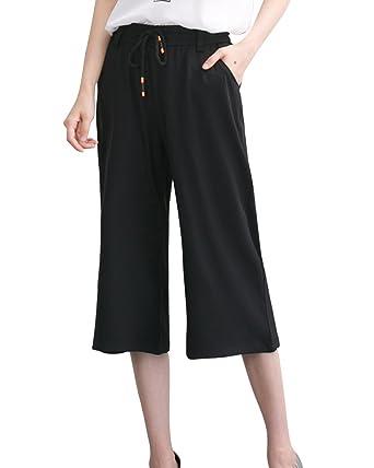ShiFan Pantacourt Femme Jambes Large Fluide Pantalon Léger avec Taille  Elastique Noir S f071f9817e9