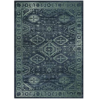 Maples Rugs Georgina Traditional Area Rugs for Living Room & Bedroom [Made in USA], 5 x 7, Navy Blue/Green - 5 x 7 Size Area Rug - Traditional Border style with rich, dual-colored design. An elegant and classic addition to different types of furniture and rooms. Timeless Design with 100% Nylon Pile for Added Durability and Fade Resistance 0.44 Inch Pile Height, Low profile to be Placed in Any Setting. Spot Clean, Air Dry, or Professional Clean - living-room-soft-furnishings, living-room, area-rugs - 51Lt7f 2H3L. SS400  -