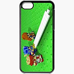 Personalized iPhone 5C Cell phone Case/Cover Skin 3d Dot Heroes Pixel Cube Green Sword Black