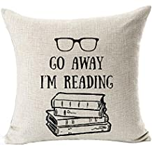 Book Lover Reading Books Club Librarian Black Glasses Go Away I'm Reading Cotton Linen Throw Pillow Case Cushion Cover NEW Home Office Indoor Decorative Square 18 X 18 Inches