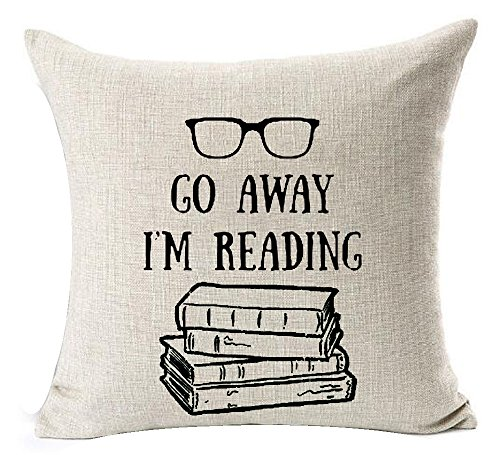 Andreannie Book Lover Reading Books Club Librarian Black Glasses Go Away I'm Reading Cotton Linen Throw Pillow Case Cushion Cover Home Office Indoor Decorative Square 18 X 18 Inches