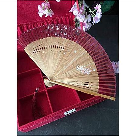 LMH-Shentu Ventilador Plegable para Damas Mango de bambú Ventilador de Mano de Seda Real Vintage Clásico Mini Gatos Ventilador de Flor de Cerezo: Amazon.es: Hogar