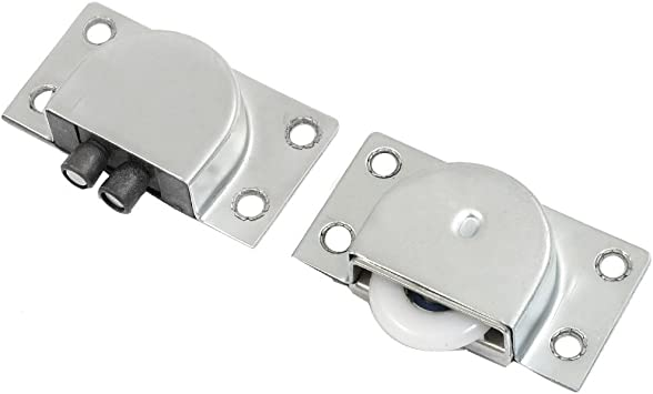 2 piezas plateado placa metálica Home armario para puerta corredera lote de rodillo y recambios: Amazon.es: Bricolaje y herramientas