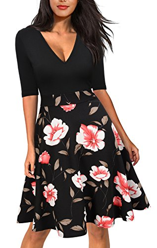REPHYLLIS Women's Vintage Casual Flare Floral Sleeveless Party Mini Dress Pink M by REPHYLLIS