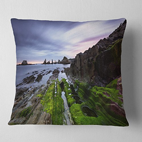 Designart CU9417-16-16 Gueirua Beach in Spain' Seashore Photography Throw Cushion Pillow Cover for Living Room, Sofa, 16 in. x 16 in, Pillow Insert + Cushion Cover Printed on Both Side by Designart