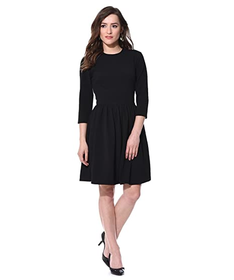 bf43026133 AARA Women s Gathered Cross Round Neck 3 4 Sleeve Fit Flare Dress ...