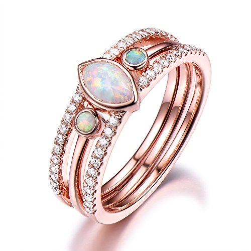 Opal Rose Gold Plated Engagement Ring Set 4x6mm Marquise Cut 925 Sterling Silver CZ Diamond Stackable Set by Milejewel Opal Engagement Ring