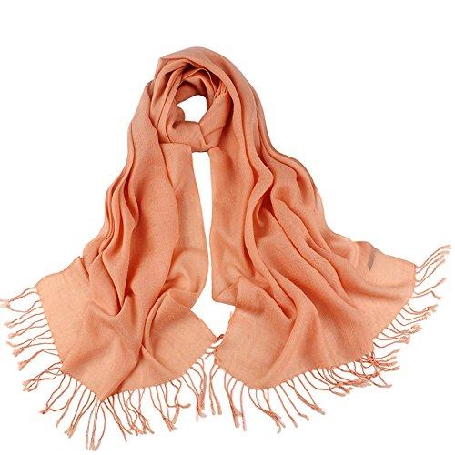 Fringe colores llanura para estola Lana bufanda invierno 175x60cm mujer el 14 5 15 elegante Todo Pashmina elegante fZTFw7x4q