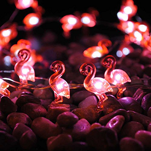 Seasonal String Lights Decorating, Impress Life Red Flamingo Themed 10 ft 40 LEDs Flexible Copper Wire with Remote for Summer, Covered Outdoor, Birthday, Curtain, Tent Wedding, DIY Parties Decorative