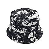 Bucket Hats For Women Dual-use Flat Top Bucket Hat Fisherman Hat with Coconut Tree Pattern Summer Outdoor Travel Sun Cap Fishing Headgear Wide Rim Headwear (Coconut & Black)
