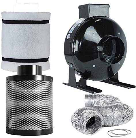 """Carbon Filter Fan kit extractor inline 4/"""" 5/"""" or 6/"""" grow tent set hydroponics 100"""
