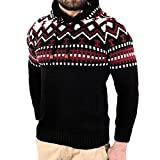 Xchenda Men's Autumn Winter Pullover Knitted Cardigan Coat Ethnic Style Hooded Acrylic Sweater Jacket Outwear (S, Black)