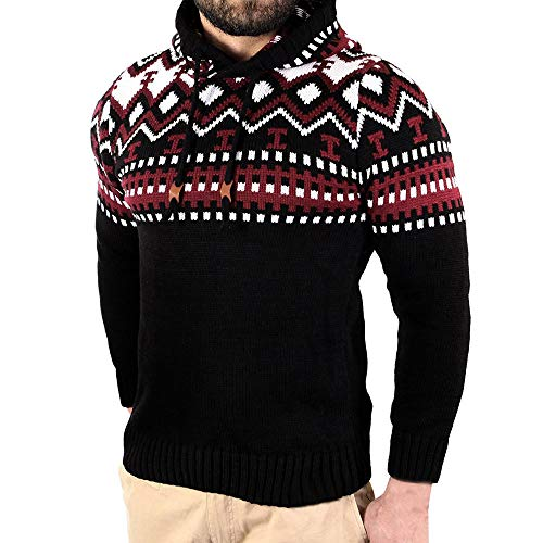 GOVOW Knitted Cardigan for Men Autumn Winter Pullover Coat Hooded Sweater Jacket Outwear(XXXL,Black) -