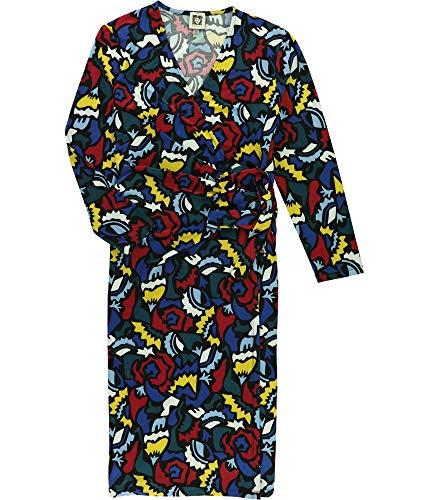 (Anne Klein Women's Classic V-Neck Faux Wrap Dress, Black/Canoe, L)