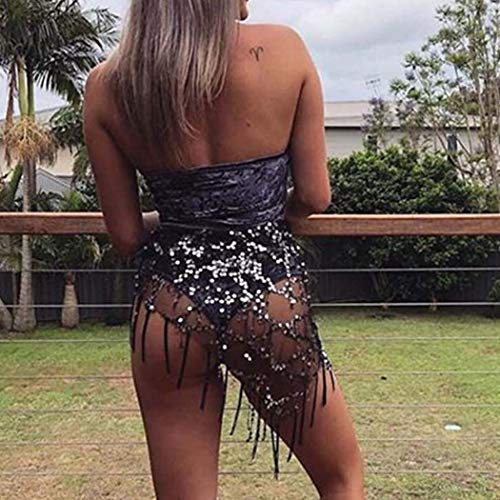 Victray Sequins Belly Dance Hip Skirts Tassel Scarf Summer Beach Wrap Fashion Party Belts Body Accessories for Women and Girls (Black) ()