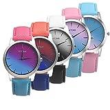 Wholesale! Hmlai 5 pack Women Rainbow Watches Retro Rainbow Design PU Leather Band Analog Alloy Quartz Wrist Watch