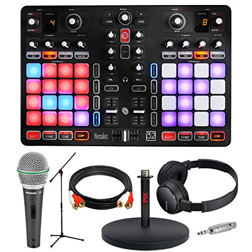 Hercules P32 DJ Controller with High-Performance Pads + MIcrophone + Deluxe Accessory Bundle