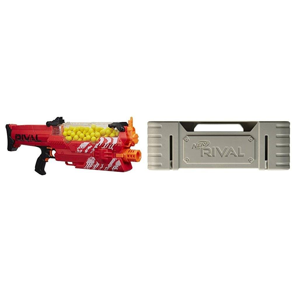 Nerf Rival Nemesis MXVII-10K, Red with Nerf Rival Rechargeable Battery Pack Bundle