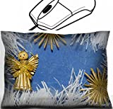 vintage angel figurines - MSD Mouse Wrist Rest Office Decor Wrist Supporter Pillow design 30456012 vintage toy angel figurine on old cardboard with straw snowflakes
