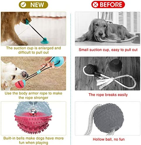 GOCHANGE Dog Chew Toys, Dogs Training Treats Teething Rope Toys with Suction Cup for Boredom, Dog Puzzle Treat Food Dispensing Ball Toy, Suitable for