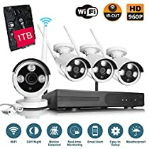 VOYAGEA Wireless Surveillance Camera Kit 4CH 960P HD Security Camera 4CH NVR Wireless Security CCTV Surveillance Systems Waterproof Superior HD IP Cameras (960P 1TB hard disk)