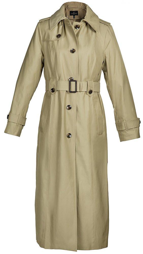 London Fog Ladies Maxi-Length Single-Breasted Raincoat 'Khaki' Color - M