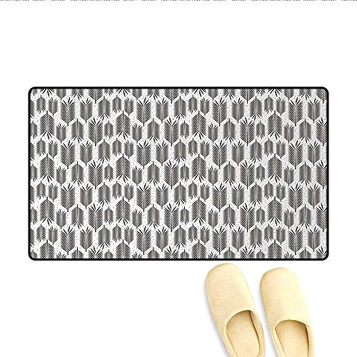 Bath Mat,Stylized Palm Leaves with Sharp Edges and Little Dots Tropical Jungle Inspired,Door Mat Outside,Seal Brown White,Size:24