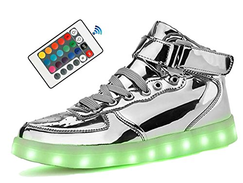 Richarde Mens Leather Sneaker Womens LED Short Boots 7 Color Light Up Shoes Silver 41