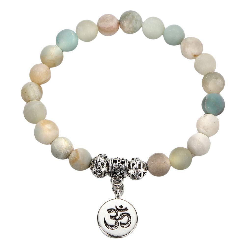 Iumer Black Volcanic Lava Stone Bracelet Elastic Colorful Turquoise Beads Diffuser Healing Yoga Bangle,Yoga beading