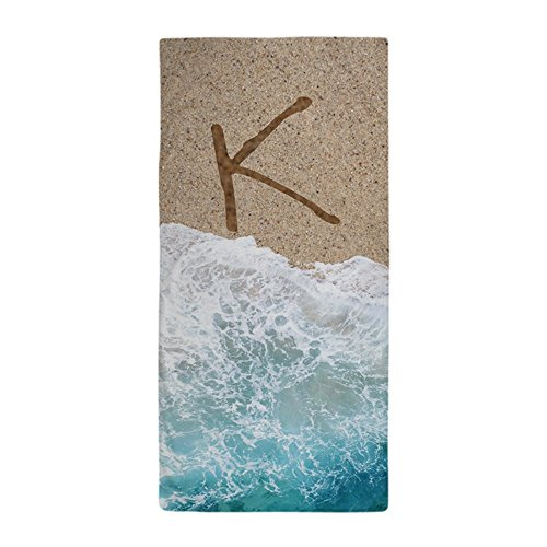 CafePress - LETTERS IN SAND K - Large Beach Towel, Soft 30