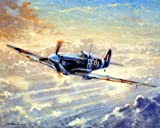 Spitfire Painting Military Aviation Airplane Vintage Art Print Poster (8x10)