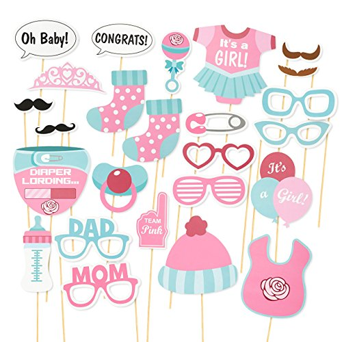 25-Piece Baby Shower Photo Booth Props on Sticks - Girl Baby Shower Party Supplies Gender Reveal Decorations, (Decoraciones Baby Shower)