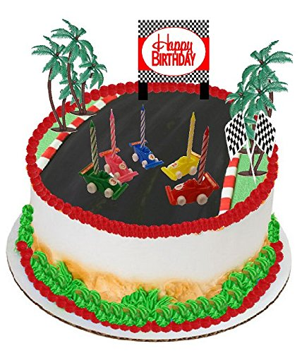Plaque Palm - Cakesupplyshop Cjp910 Race Cars Candles Happy Birthday Plaque Checkered Flag and Palm Trees Cake Decoration Cake Topper