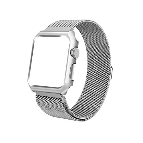 iTerk Compatible Apple Bands Frame,Milanese Mesh Loop Stainless Steel Metal Replacement Wristband Bracelet Strap Magnetic Buckle Protective Case Bumper Compatible iWatch Apple Watch Series 1/2/3