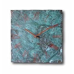 Large Copper Wall Clock 12-inch - Square Turquoise Decorative Rustic Metal Original - Silent Non Ticking Quartz for Home