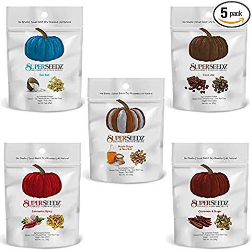 SuperSeedz Gourmet Pumpkin Seeds: Gluten Free, Vegan, Keto Friendly Snack. Variety Pack - 5 x 1oz Bags (5 Flavors)