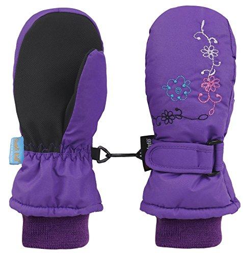 Livingston Girls Embroidery Waterproof Winter Ski Mittens, Purple, Age4-6