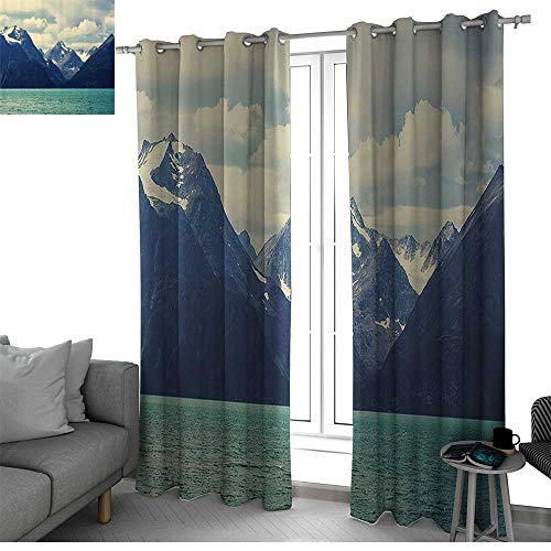 bybyhome Snowy Nature 2 Panels Set Bedroom Kitchen Northern Norway Mountains and Atlantic Coastline Fishing Harbor Picture Print Window Curtain 2 Panel White and Indigo W108 x L96 Inch