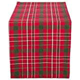 DII 100% Cotton, Machine Washable, Dinner and Holiday Table Runner 14x72, Tartan Holly Plaid